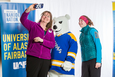 Future UAF students and family members pose with the Nanook mascot during Inside Out.  Filename: LIF-16-4839-77.jpg