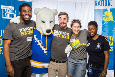 UAF student ambassadors take a portrait during the summer 2016 Inside Out event hosted by the UAF's Office of Admissions and the Registrar.  Filename: LIF-16-4926-64.jpg