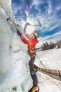 Engineering major Ryan Kudo enjoys a late season climb up the UAF ice wall on April 4.  Filename: LIF-14-4132-175.jpg