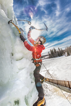 Engineering major Ryan Kudo enjoys a late season climb up the UAF ice wall on April 4.  Filename: LIF-14-4132-175.jpg