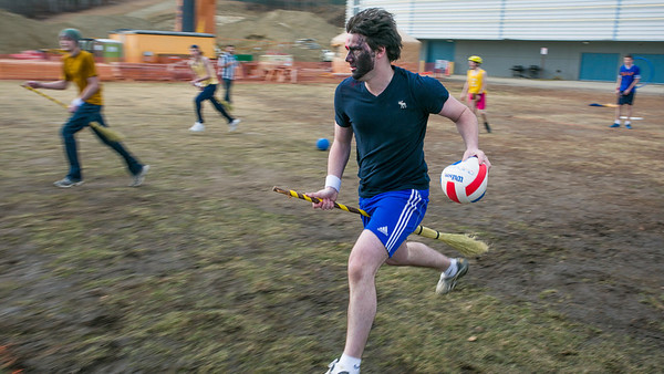 Participants in the quidditch club, UAF's newest intramural sport, play a competitive match during SpringFest 2012.  Filename: LIF-12-3382-66.jpg