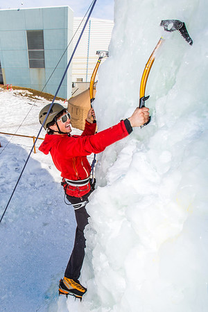 Engineering major Ryan Kudo enjoys a late season climb up the UAF ice wall on April 4.  Filename: LIF-14-4132-112.jpg