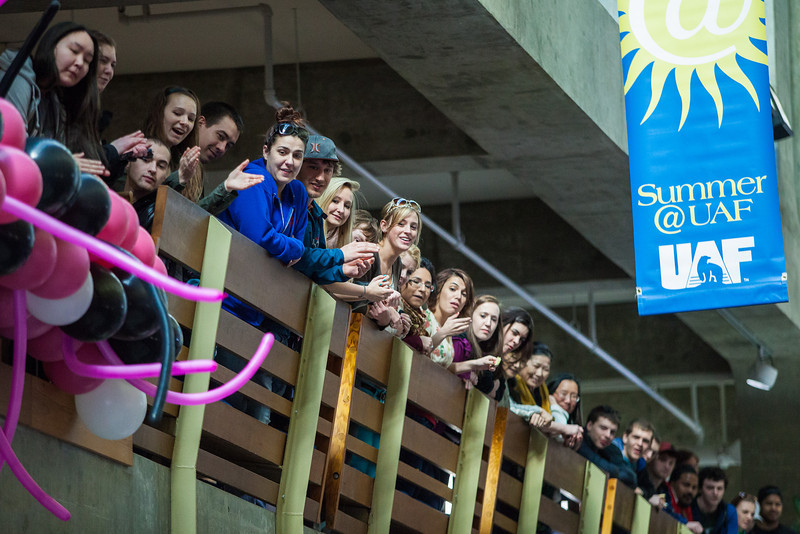 """Students watch performers during a dance-off at the 2013 Spring Fest inside Wood Center.  <div class=""""ss-paypal-button"""">Filename: LIF-13-3799-115.jpg</div><div class=""""ss-paypal-button-end"""" style=""""""""></div>"""