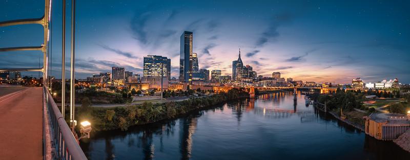 Nashville skyline during blue hour with river front