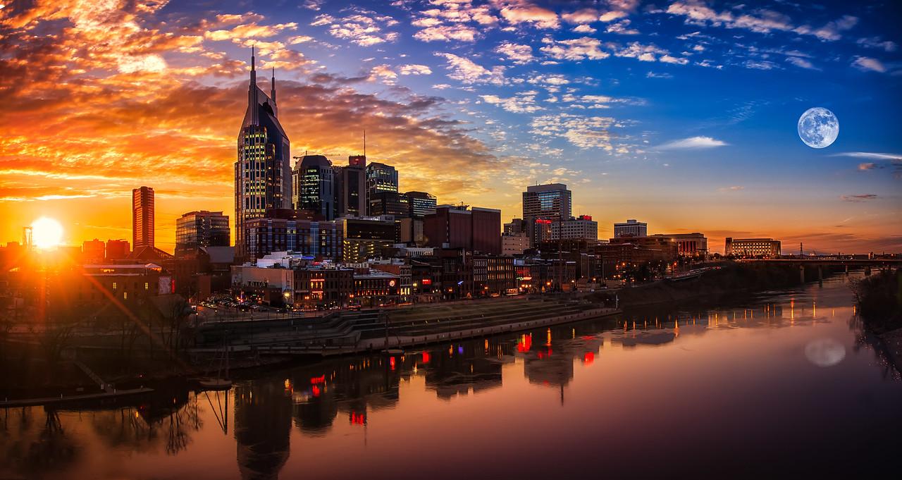 Nashville skyline sunset