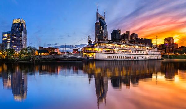 Nashville skyline with boat
