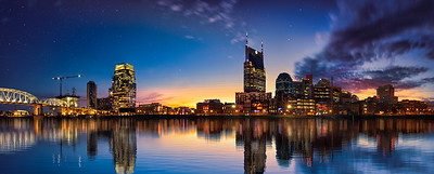 Nashville skyline blue hour