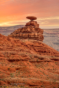Famous Mexican Hat rock formation in southern Utah