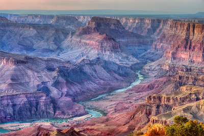 View of the Grand Canyon and the Colorado River from Desert View at sunset