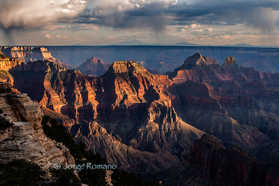 Grand Canyon with Showers At Sunset