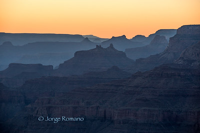 The Grand Canyon at twilight from the south rim