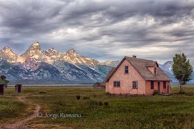 Grand Teton moiuntains view from old historic mormon ranch.