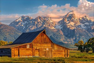 Historic Mormon Barn at sunrise in Grand Teton National Park