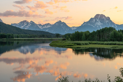 Grand Teton Mountains and Mount Moran from Oxbow Bend in the evening
