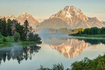 Mount Moran view from Oxbow Bend in Grand Teton National Park