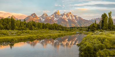 Grand Teton mountains and the Snake River panorama, Grand Teton National Park, Wyoming