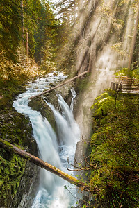 Sol Duc Falls with Light Shafts