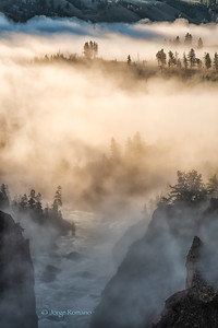 Yellowstone canyon at sunrise with morning fog