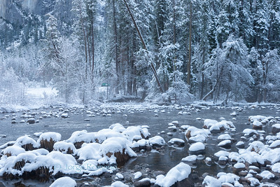 The Merced River right after a snow storm, Yosmite National Park