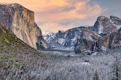 Yosemite Valley view in winter after a snow storm at sunset, Yosemite National Park