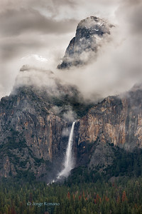 Bridalveil Waterfall in Winter.
