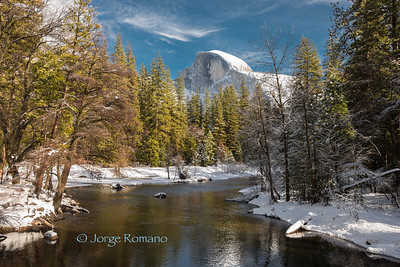 Half Dome and The Merced River in Winter. Yosemite National Park.
