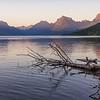 Lake Macdonald at sunset.  Glacier National Park, Montana.