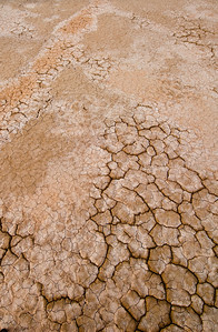 Cracks and salt patterns in the mud of Clark Dry Lake in Anza-Borrego Desert State Park in California
