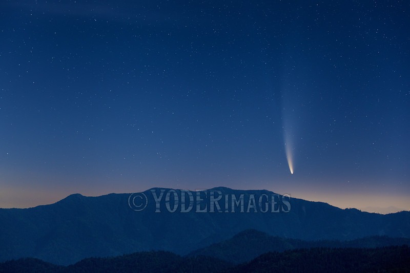 Comet C/2020 F3 (NEOWISE) rising over Mt. Leconte, Great Smoky Mountains National Park, 7/12/2020.
