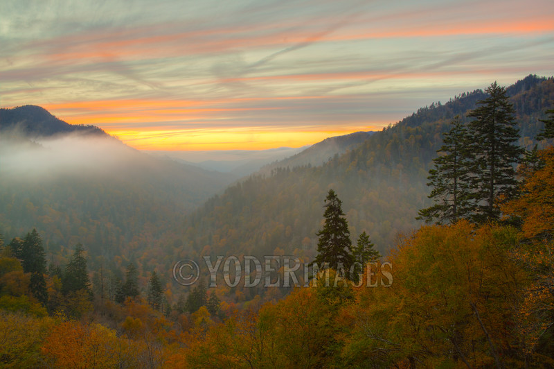 Sunset over Morton's Overlook, Great Smoky Mountains National Park<br /> Featured in Great Smoky Mountains Association Calendar, October 2017