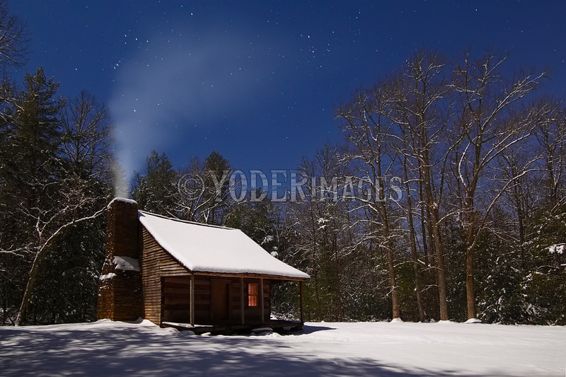 Stars over the Carter-Shields Cabin, Cades Cove, Great  Smoky Mountains National Park