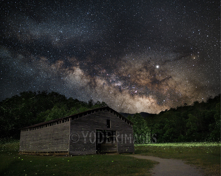 Lightning Bugs and Milky Way at the Dan Lawson Barn, Cades Cove, Great Smoky Mountains National Park