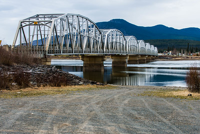 Nisutlin Bay Bridge, which crosses Teslin Lake, is the longest bridge on the Alaska Highway (584 m/1,917 feet). Mile 776. May 2015.
