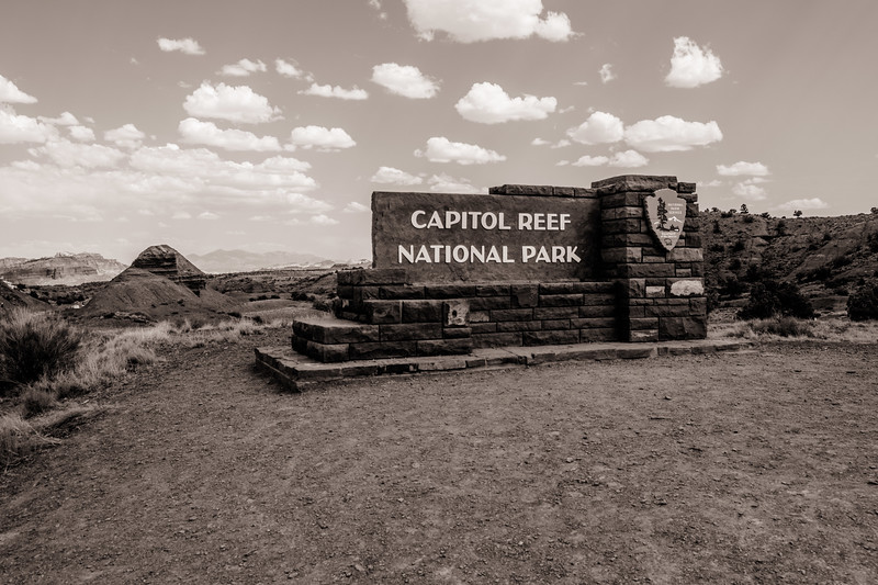 On the road entering Capitol Reef National Park