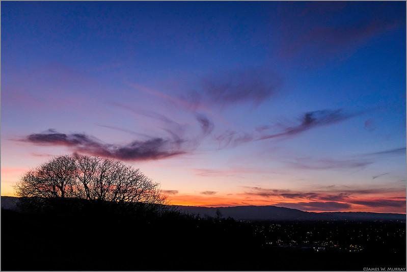San Jose Sunset, from Communications Hill, January 27, 2018 ... [#X100F.2018.1015]