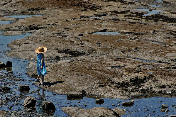 Girl With a Sunhat at Low Tide