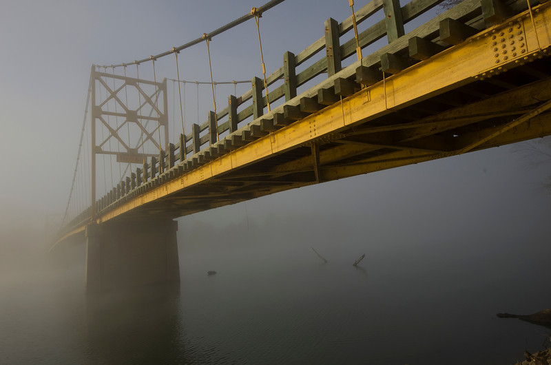 Suspension Bridge at Beaver, AR.  <br /> <br /> This is a single lane, wood plank surfaced suspension bridge spanning a smaller section of Beaver Lake in NW Arkansas.