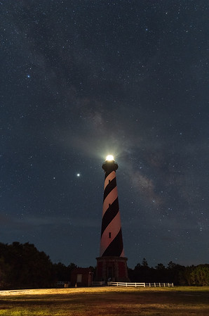 Hatteras Lighthouse against the Milky Way galaxy - Cape Hatteras National Seashore, North Carolina