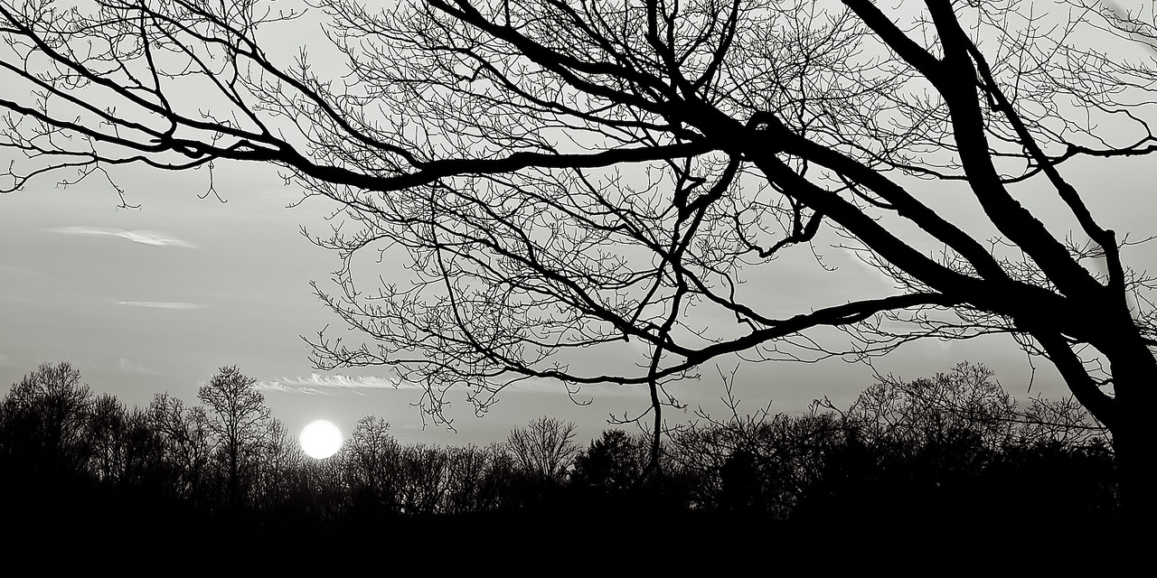 A late winter sunset in Storrs, CT