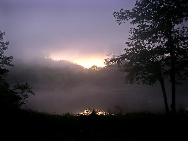 A foggy spring sunrise in Sanbornton, NH