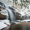 Beautiful winter waterfall in the Appalachian mountains of North Carolina
