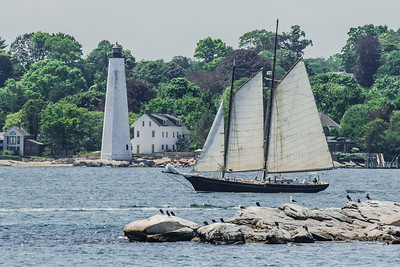 Schooner Approaches Lighthouse