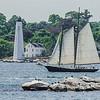 Schooner Approaches Lighthouse