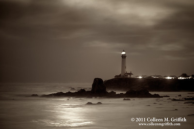 Stormy Night © 2011 Colleen M. Griffith  This northern pacific coast lighthouse is located just south of Pescadero and Half Moon Bay, two cute little coastal towns easily accessible from San Francisco, California.  I captured this moonset photo the day the moon was it's closest to the earth in the past 18 years, March 19 2010.  So, the light you see in the clouds and reflected on the ocean were from the incredibly bright full moon as it was setting over the Pacific Ocean.  As you can see, this was a very stormy day, and the clouds added some nice character to the shot.  I have posted several versions of this shot, and you can see them all by navigating to www.colleenmgriffith.com/Galleries/Sunsets-And-Lighthouses/Lighthouses
