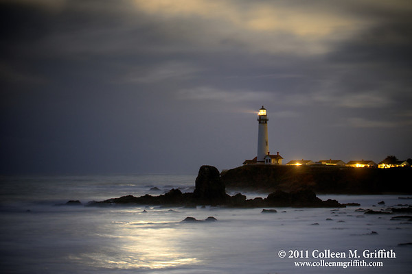 "Mystical Moonlight<br /> © 2011 Colleen M. Griffith<br /> <br /> This northern pacific coast lighthouse is located just south of Pescadero and Half Moon Bay, two cute little coastal towns easily accessible from San Francisco, California.  I captured this moonset photo the day the moon was it's closest to the earth in the past 18 years, March 19 2010.  So, the light you see in the clouds and reflected on the ocean were from the incredibly bright full moon as it was setting over the Pacific Ocean.  As you can see, this was a very stormy day, and the clouds added some nice character to the shot.  I have posted several versions of this shot, and you can see them all by navigating to  <a href=""http://www.colleenmgriffith.com/Galleries/Sunsets-And-Lighthouses/Lighthouses"">http://www.colleenmgriffith.com/Galleries/Sunsets-And-Lighthouses/Lighthouses</a>"