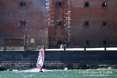 Windsurfing Near Fort Point, San Francisco Bay California ©  2010 Colleen M. Griffith. All Rights Reserved.  This material may not be published, broadcast, modified, or redistributed in any way without written agreement with the creator.  This image is registered with the US Copyright Office. www.colleenmgriffith.com www.facebook.com/colleen.griffith