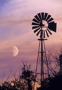 Windmill & Moon at Sunset