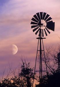 Windmill & Moon at Sunset