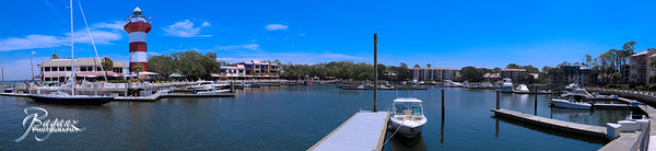 Harbour Town with Stars and Stripes at the dock