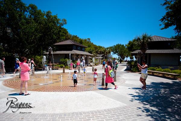 Enjoy the Coligny Beach Park and fountain.(An oceanside park on Hilton Head Island, SC))